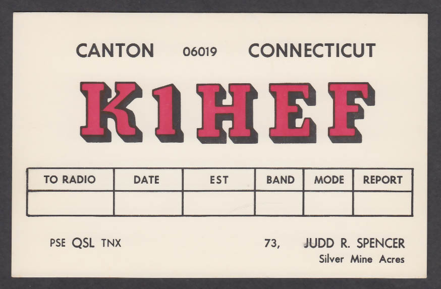 Image for K1HEF Judd Spencer Canton CT QSL postcard