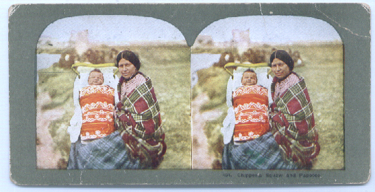 Image for Chippewa squaw & papoose color stereo 1890s