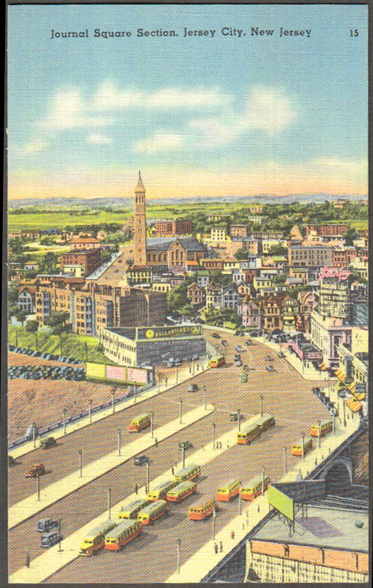 Image for Journal Square Section Jersey City NJ postcard 1930s Ballantine Beer