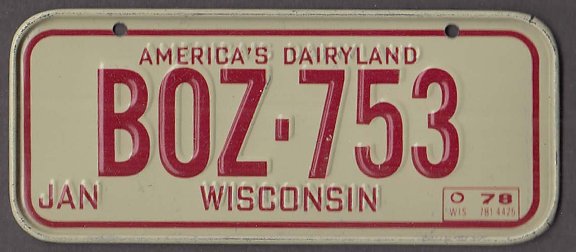 Image for Post Honeycomb Wisconsin License Plate 1978 America's Dairyland
