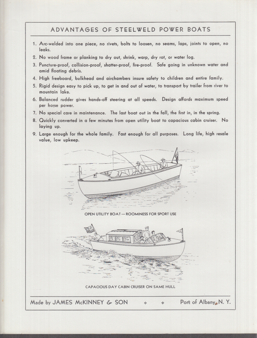Image for 1933 Launches The Steelweld Power Boat sales folder James McKinney & Son