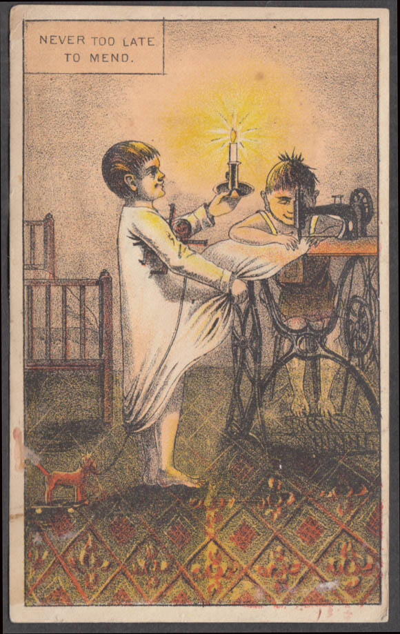 Image for Singer Sewing Machine trade card 1880s Never Too Late sewing by candlelight