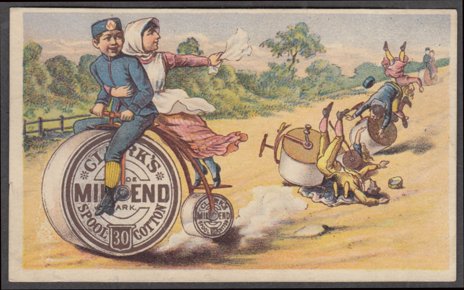 Image for Clark's Mile End Thread trade card pennyfarthing bicycle race 1880s