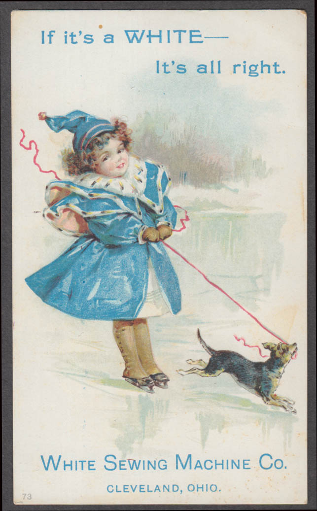 Image for If it's a White Sewing Machine it's all right trade card 1880s girl & dog on ice