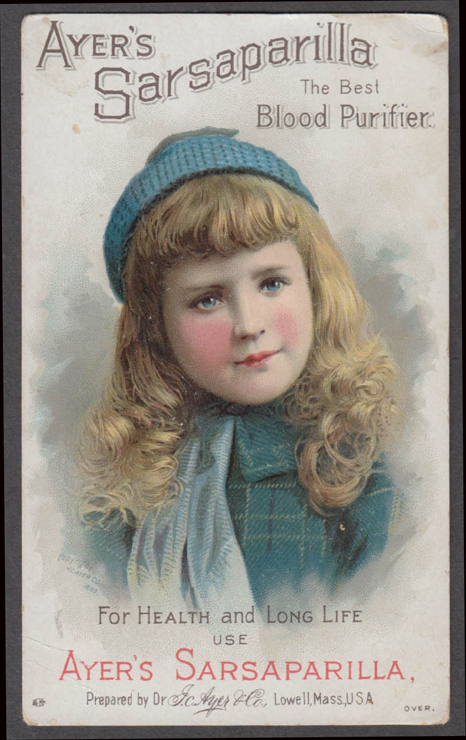 Image for Ayer's Sarsaparilla Blood Purifier trade card blonde girl knit cap 1880s