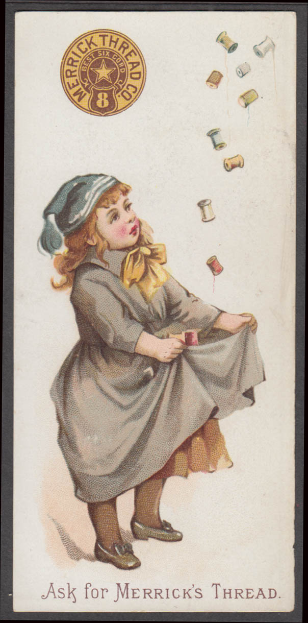 Image for Merrick Thread trade card girl catches spools in skirt 1888
