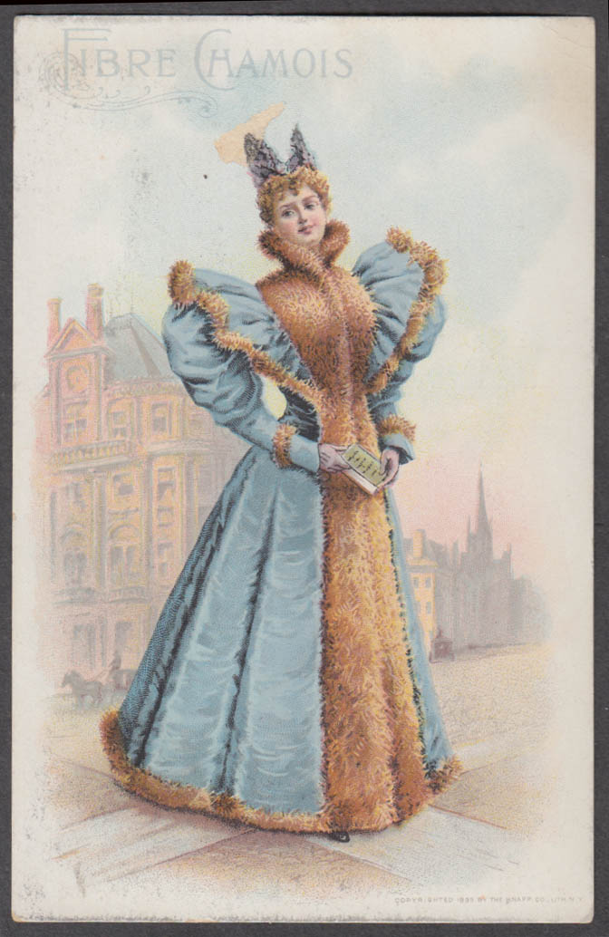 Image for Redfern Gowns American Fibre Chamois trade card 1895 fancy dress