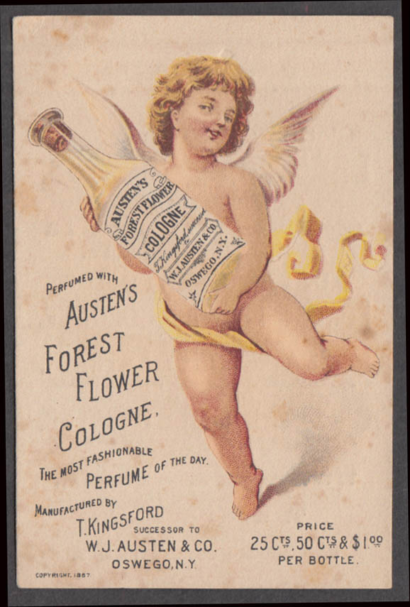 Image for Austen's Forest Flower Cologne trade card Oswego NY 1887 naked winged cherub