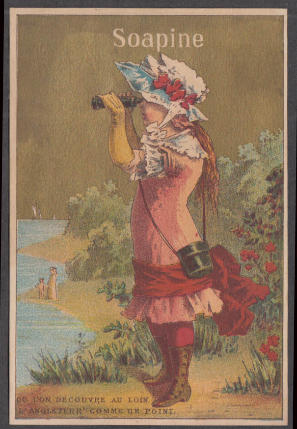 Image for Kendall Soapine soap trade card 1880s girl with binoculars sees UK from France