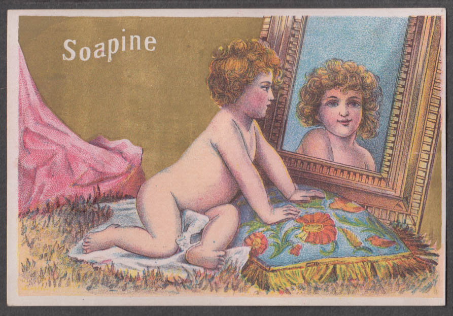 Image for Kendall Soapine Dirt Killer Soap trade card 1880s naked child looks in mirror