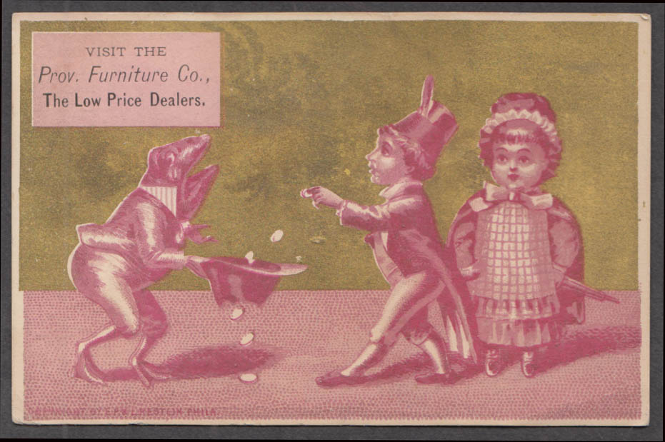 Image for Providence Furniture Co RI trade card 1880s frog begs with hat with hole in it