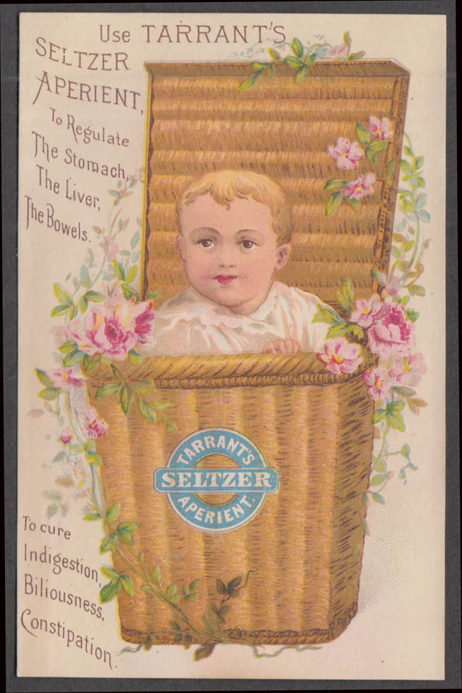 Image for Tarrant's Seltzer Aperient for the bowels trade card 1880s boy in wicker basket