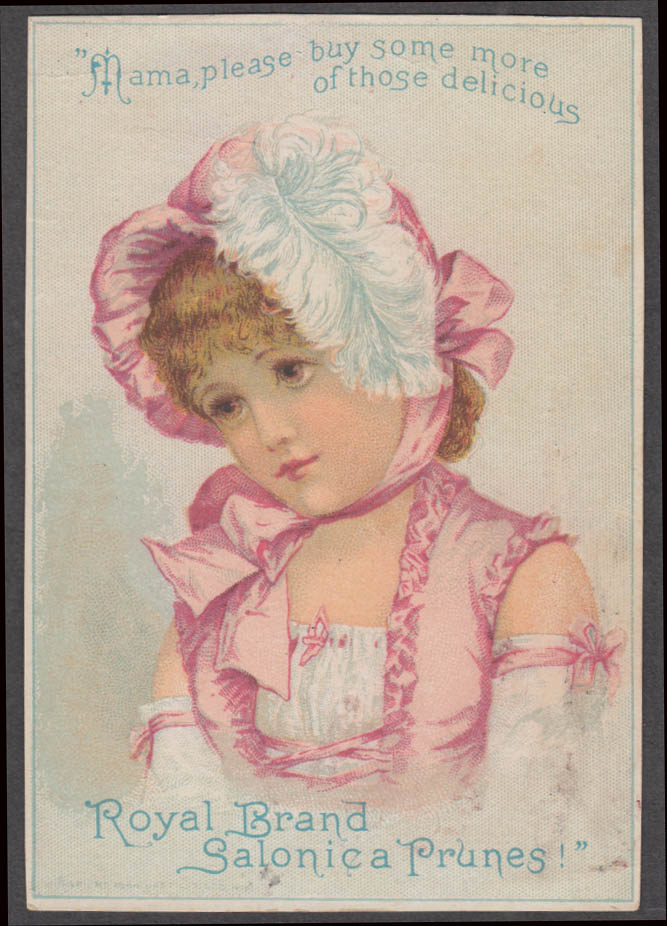 Image for Royal Brand Salonica Prunes trade card 1880s girl in feathered bonnet