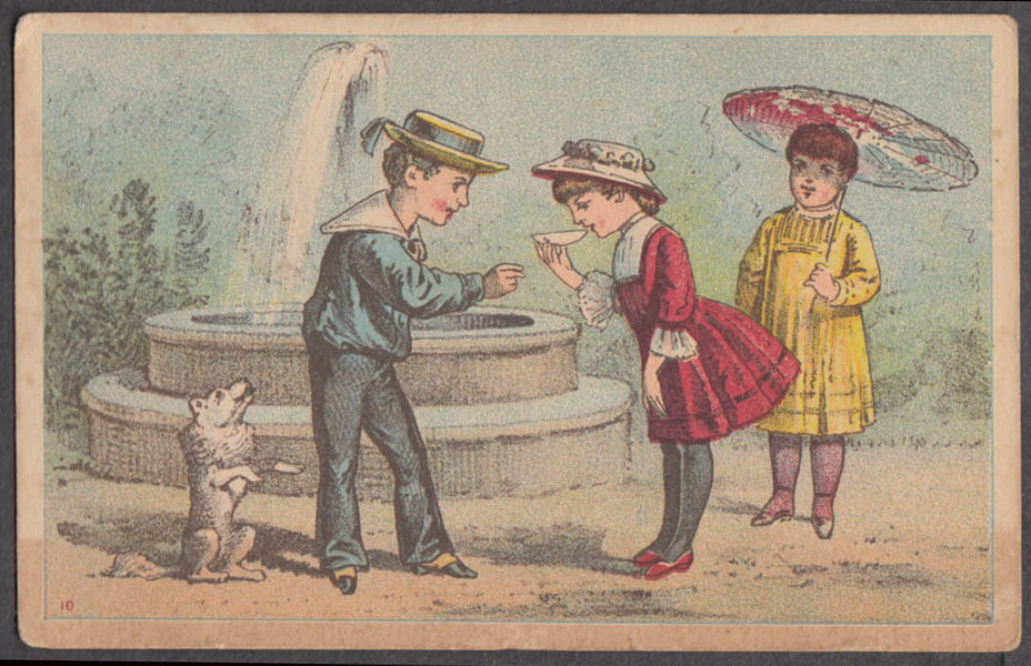 Image for M Falk Children's Bazaar Clothing trade card Hartford CT kids at fountain 1880s