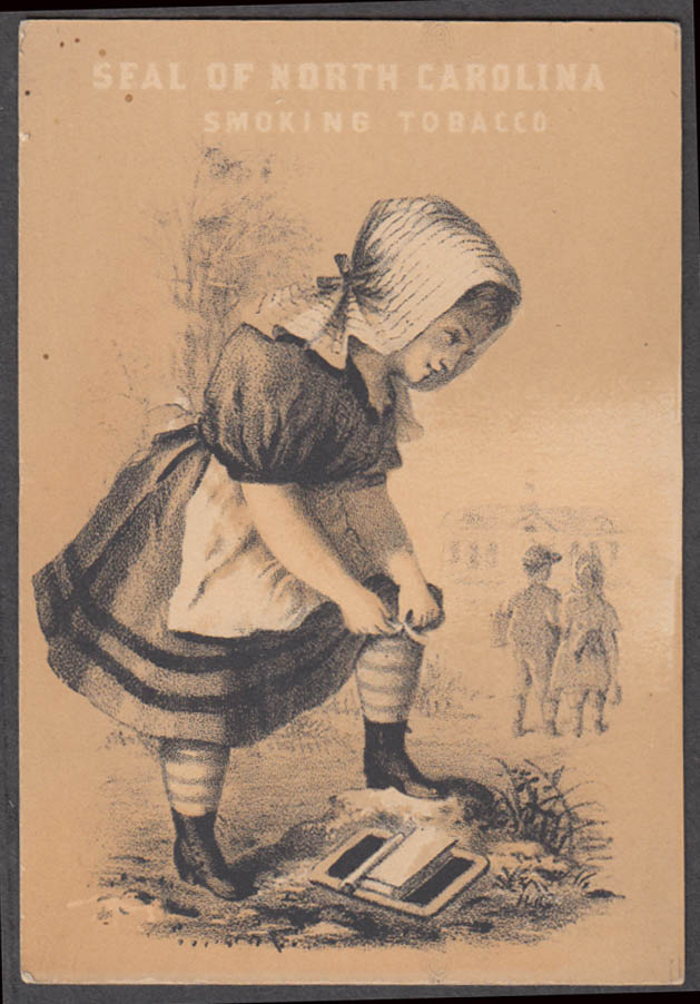 Image for Marburg Bros North Carolina Smoking Tobacco trade card 1880s girl in bonnet