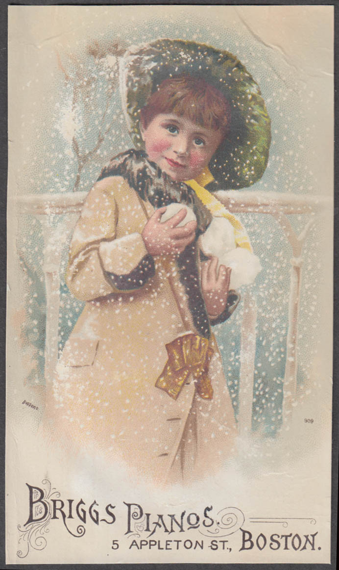 Image for Briggs Pianos trade card Boston girl with snowballs & bonnet 1880s