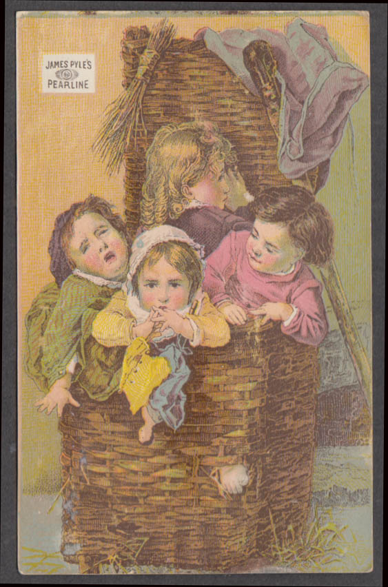 Image for James Pyle's Pearline Soap trade card 1880s 4 children in a wicker basket