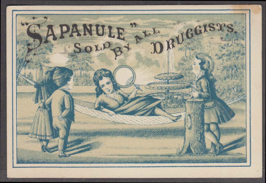 Image for Sapanule Cures Lumbago Bunions Piles Boils trade card 1880s woman fan hammock