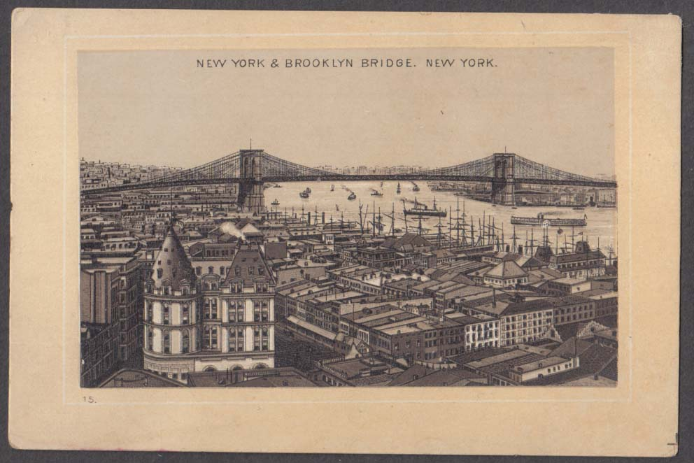 Image for Jersey Coffee Dayton OH trade card New York & Brooklyn Bridge 1880s