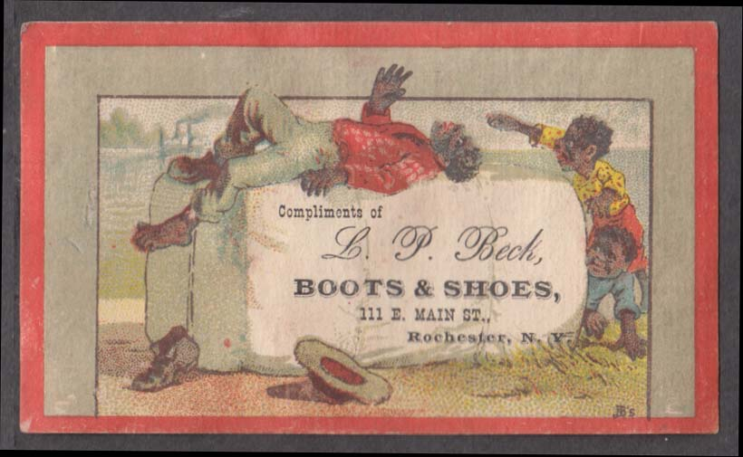 Image for L P Beck Boots & Shoes Rochester NY trade card Negro sleeps on cotton bale 1880s