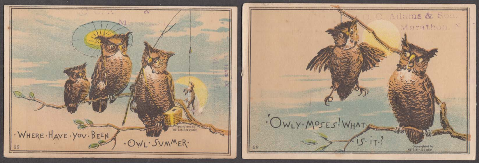 Image for Lot of FIVE different Owl-motif pun trade cards 1882 Owl's Story Owl'd Masters +