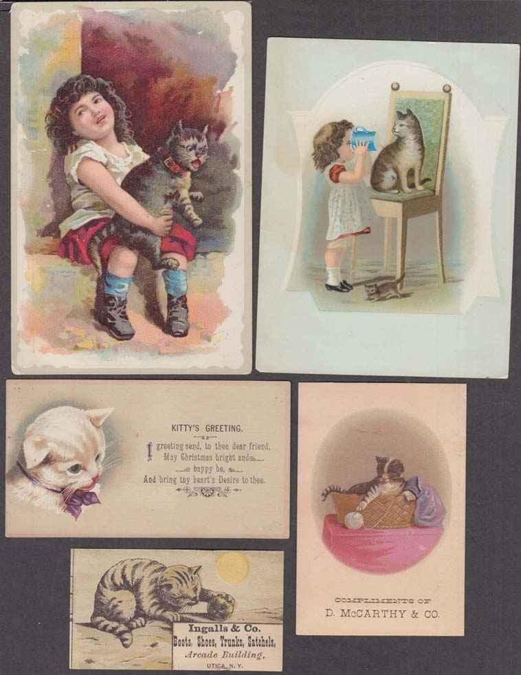 Image for Lot #3 of FIVE different cat kitty kitten pussycat trade cards 1880s