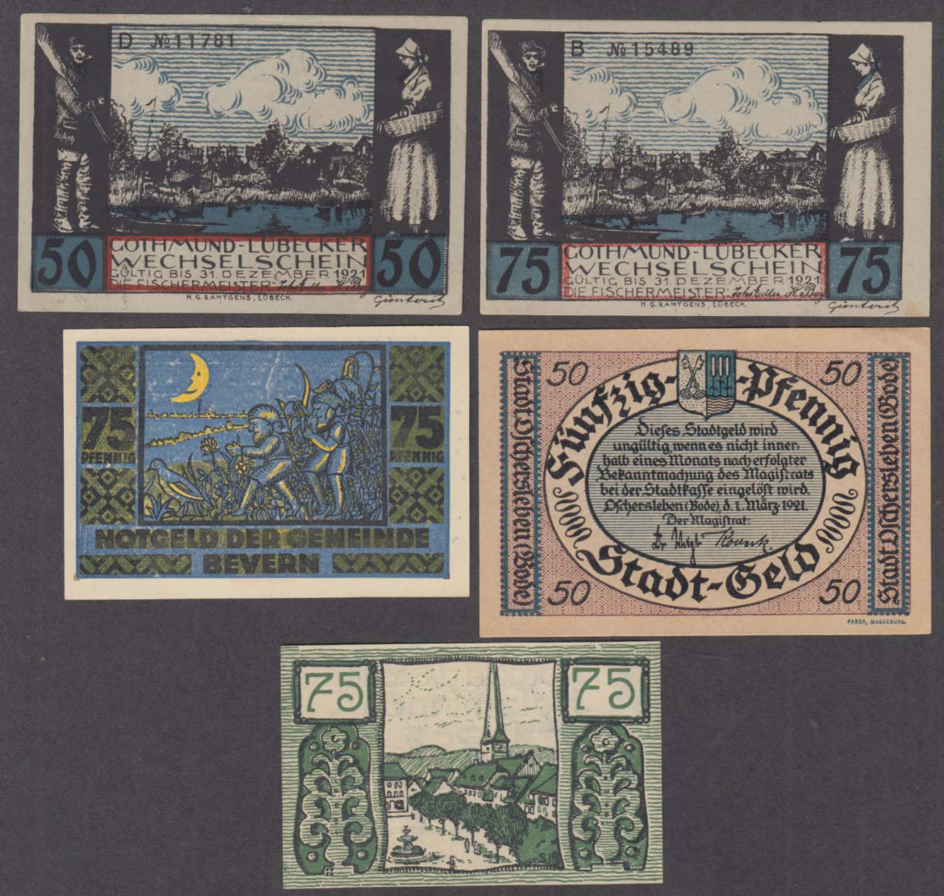 Image for Lot of assorted value pfennig bank notes 1921-1922 50pf 75pf
