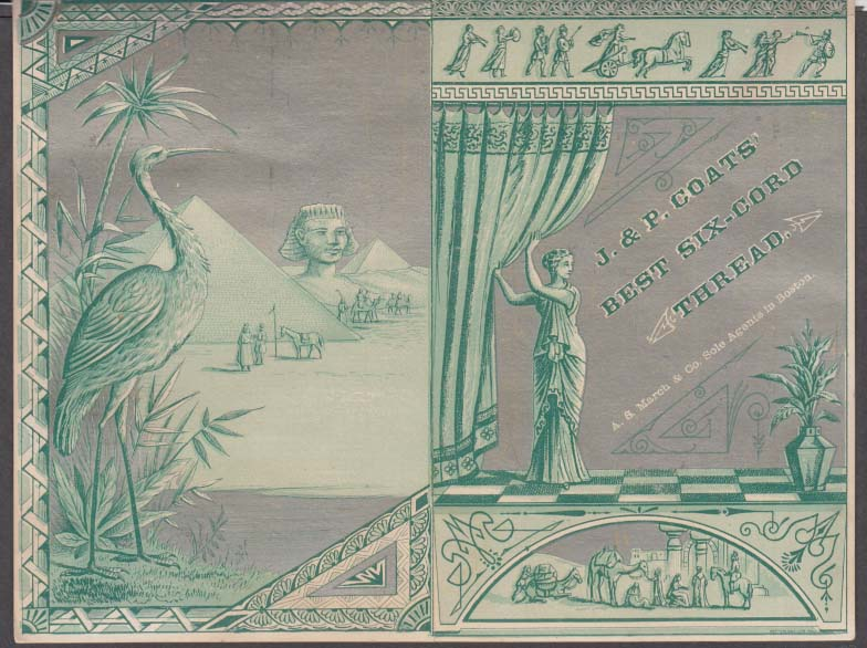 Image for J&P Coats Thread sewing machine chart Egyptian motif trade card 1880