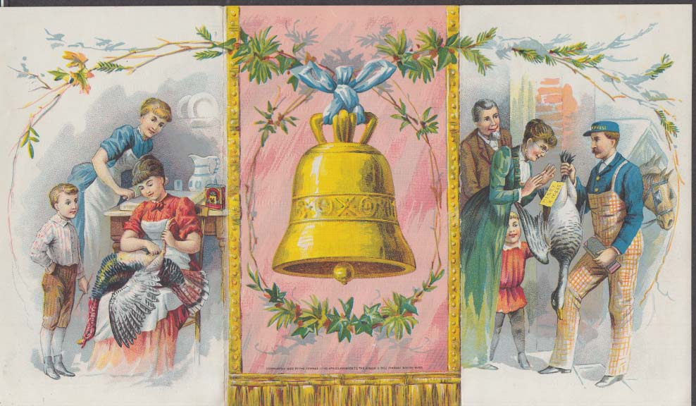 Image for Bell's Spiced Seasoning Christmas Turkey folder trade card 1880s
