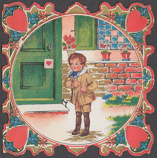 Image for Surely not a miss to send a Miss a Valentine card boy at door ca 1920s