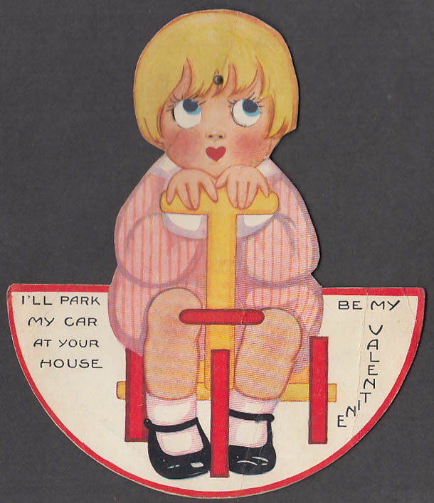 Image for I'll Park My Car Be My Valentine animated easel-back card girl on tricycle 1930s
