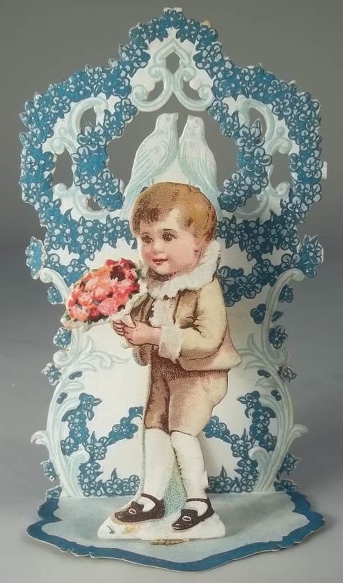 Image for To My Valentine stand-up card boy with bouquet & lovebirds 1920s