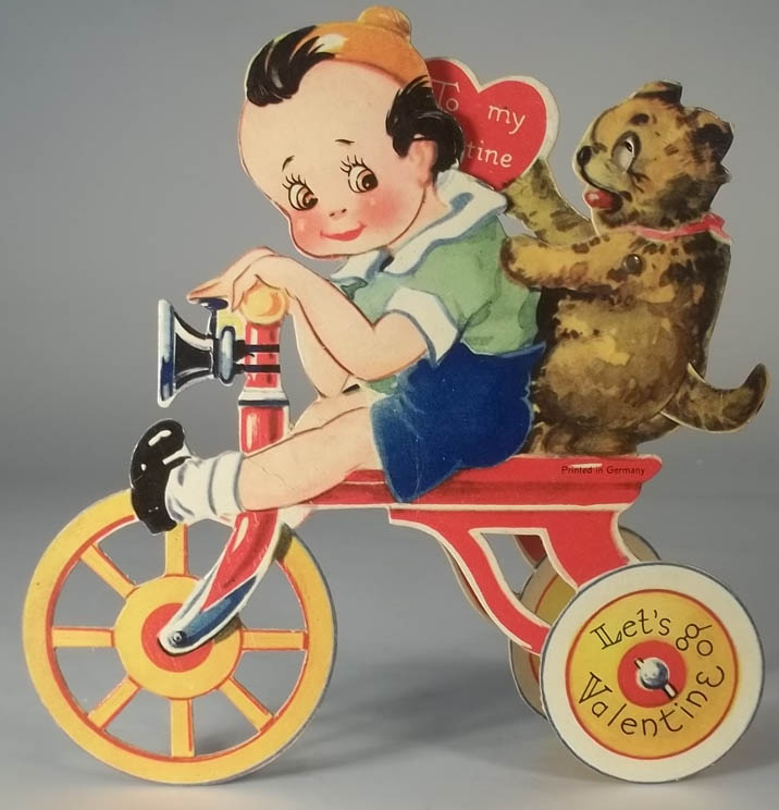 Image for Let's go Valentine stand-up mechanical card boy & dog on tricycle ca 1920s
