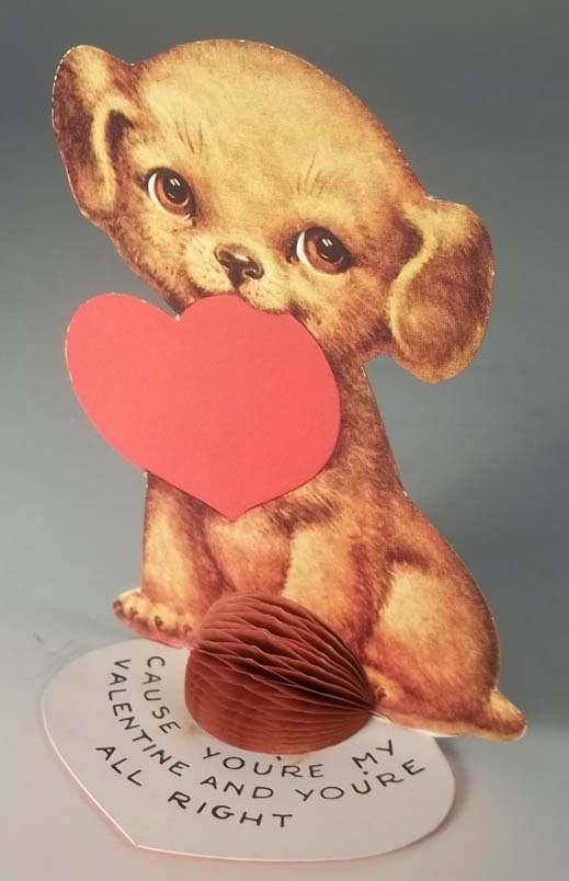 Image for I won't growl or bite cause you're my Valentine stand-up card dog w/ heart 1930s