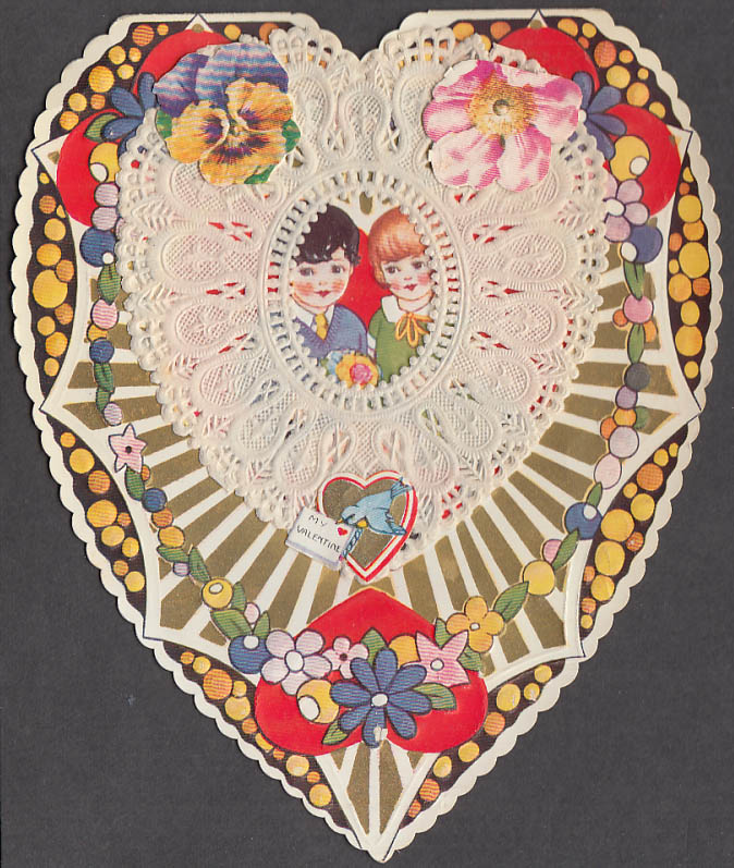 Image for St Valentine was a good old chap lace-front Valentine card 1930s