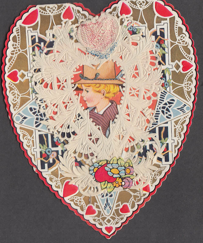 Image for I've caught you little playmate lace-front Valentine card 1930s boy lassoes girl