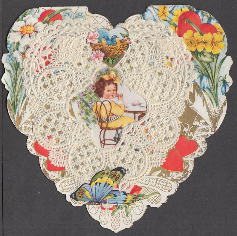 Image for Many kinds of Valentines lace-front card speedboat ice cream store chair 1920s