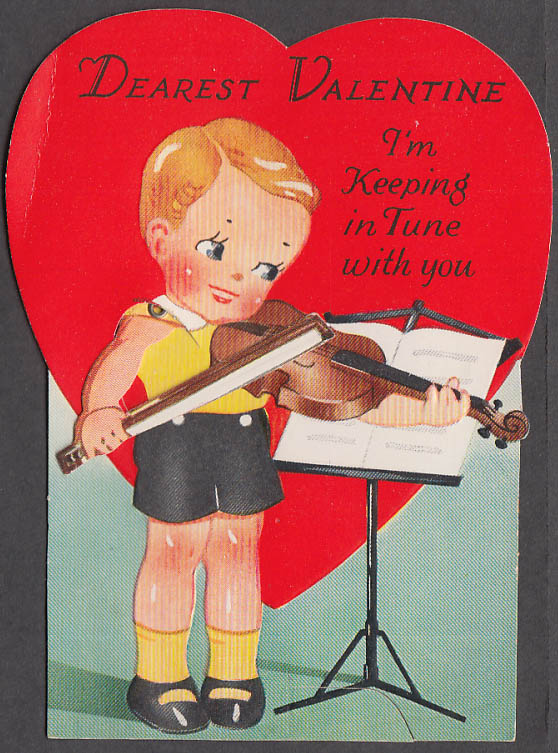 Image for Dearest Valentine Keeping in Tune stand-up mechanical card boy violinist 1940s
