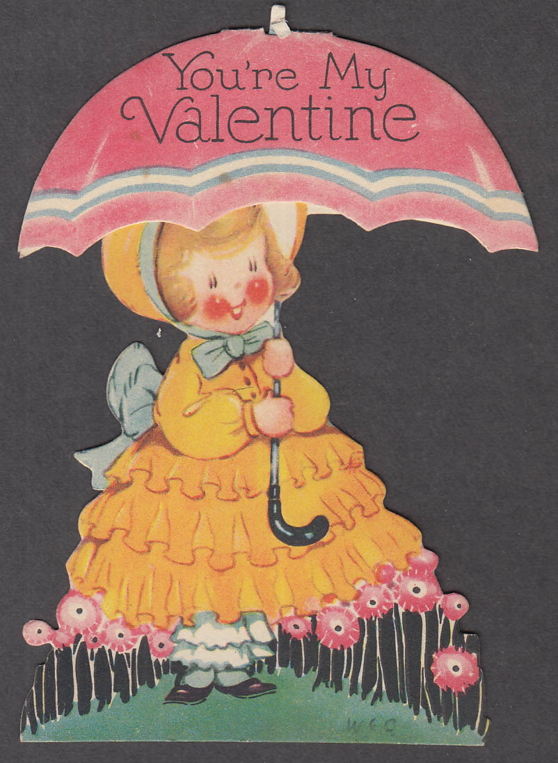 Image for You're My Valentine Rain or Shine mechanical card girl under umbrella 1940s
