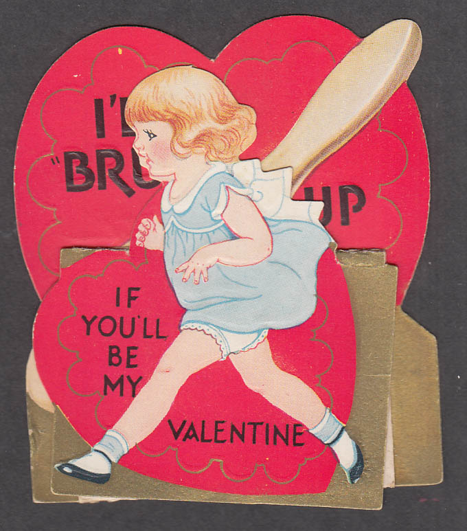 Image for If You'll Be My Valentine I'll Brush up folding card 1940s