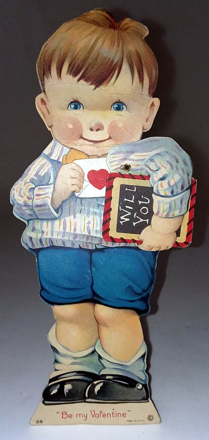 Image for Will You Be My Valentine? stand-up mechanical card 1930s