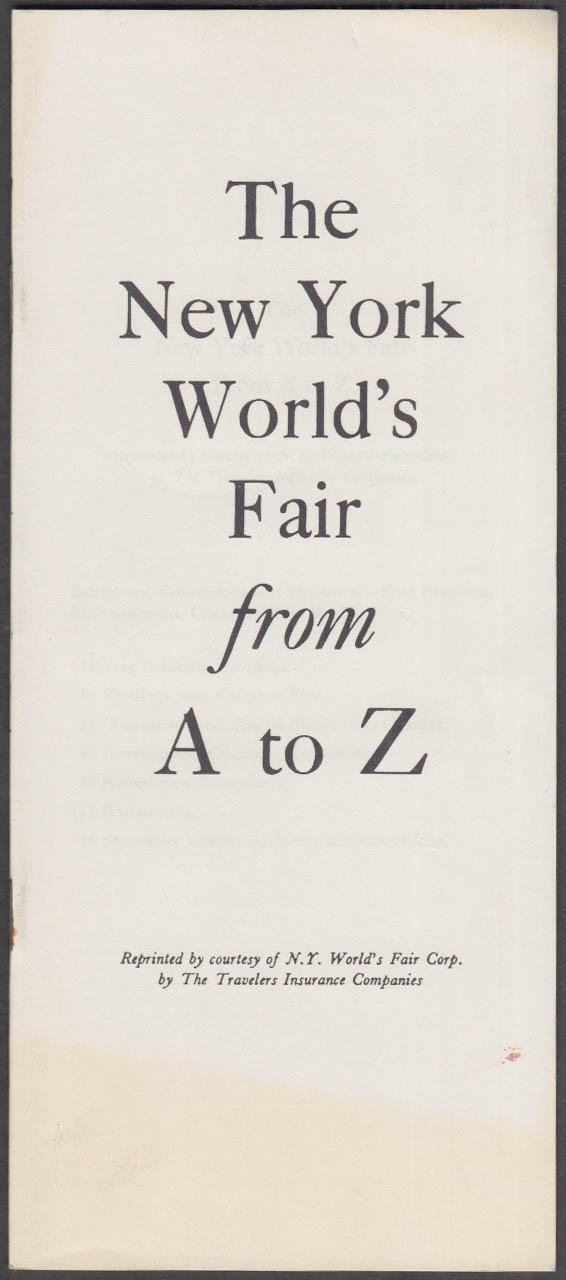 Image for Travelers Insurance New York World's Fair from A to Z booklet 1964