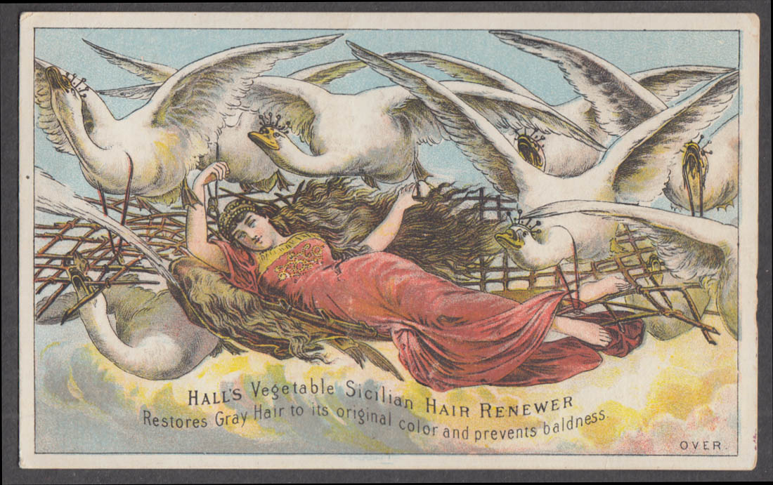 Image for Elise & The Wild Swans Hall's Sicilian Hair Renewer trade card 1880s