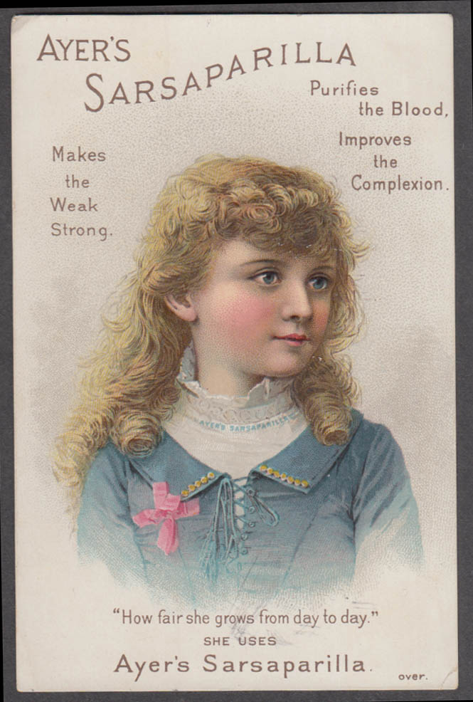 Image for Ayer's Sarsaparilla Makes the Weak Strong trade card 1880s blonde girl