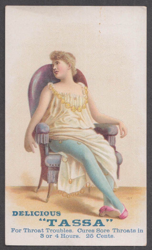 Image for Tassa Cures Diphtheria trade card 1880s N K Morgan Druggist Hartford CT