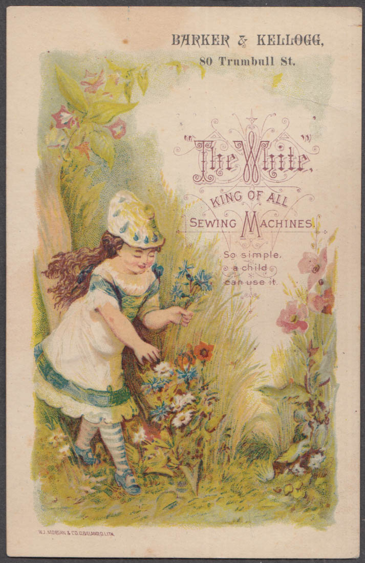 Image for White Sewing Machines trade card 1880s Barker & Kellogg Hartford CT