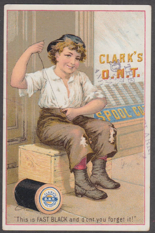 Image for Poor boy mends own clothes Clark's ONT Thread trade card 1880s