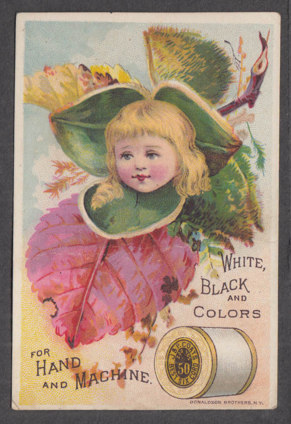 Image for J&P Coats Thread White Black & Colors trade card 1880s girl as center of blossom