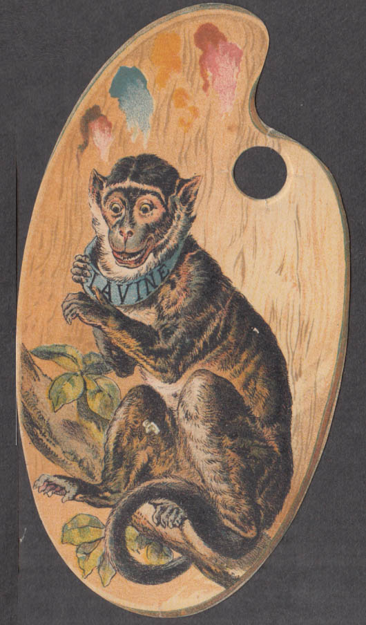 Image for Monkey on artist's palette Lavine Soap trade card 1880s Hartford CT