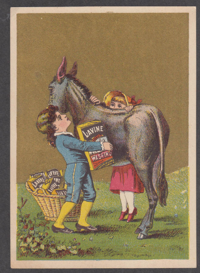 Image for Children load a donkey Lavine Soap trade card 1880s Hartford CT